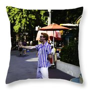 A Street Entertainer In The Hollywood Section Of The Universal Studios Throw Pillow