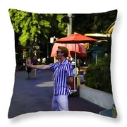 A Street Entertainer In The Hollywood Section Of Universal Studios Throw Pillow