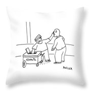 A Street-vendor's Cart Is Labeled Shmutz Throw Pillow