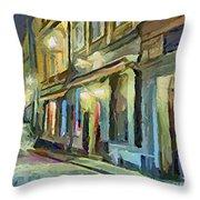 A Street With The Local Inn Throw Pillow