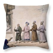 A String Of Blind Beggars, Cabul, 1843 Throw Pillow