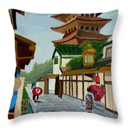 A Stroll In Old Kyoto Throw Pillow