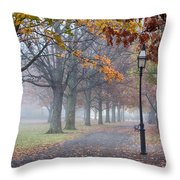 A Stroll In Salem Fog Throw Pillow