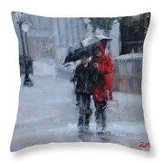A Stroll In The Rain Throw Pillow by Laura Lee Zanghetti