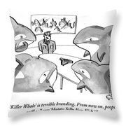 A Suited Man Speaks To A Group Of Killer Whales Throw Pillow