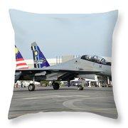 A Sukhoi Su-30 Of The Royal Malaysian Throw Pillow