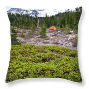 A Summer Day Camping At The Foot Of Mt Throw Pillow