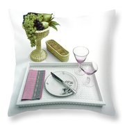 A Summer Table Setting On A Tray Throw Pillow