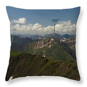 A Summit View Panorama With Peak Labels Throw Pillow