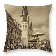 A Sunny Afternoon In Jackson Square Sepia Throw Pillow