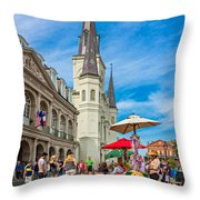 A Sunny Afternoon In Jackson Square Throw Pillow