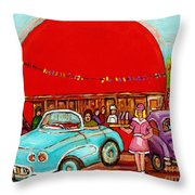 A Sunny Day At The Big Oj- Paintings Of Orange Julep-server On Roller Blades-carole Spandau Throw Pillow