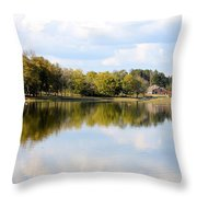 A Sunny Day's Reflections At The Lake House Throw Pillow