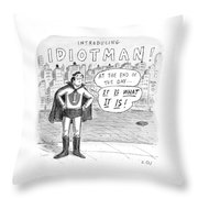 A Superhero With An I On His Chest Throw Pillow