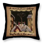 A Sweet Friendship  Winter Throw Pillow by Catherine Holman