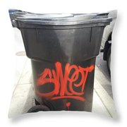A Sweet Garbage Can. Throw Pillow