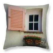 A Sweet Shuttered Window Throw Pillow by Lainie Wrightson