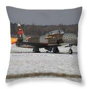 A T-33 Shooting Star Trainer Jet Throw Pillow by Timm Ziegenthaler