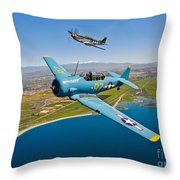 A T-6 Texan And P-51d Mustang In Flight Throw Pillow