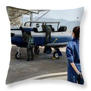 A T-6 Texan Trainer Of The Hellenic Air Throw Pillow