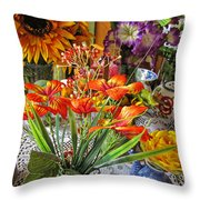A Table Of Flowers Throw Pillow