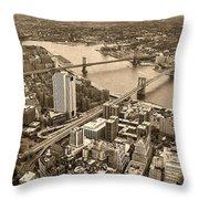 A Tale Of Two Bridges 2 Throw Pillow by Joann Vitali