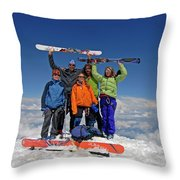 A Team Of Climbers Celebrate Throw Pillow