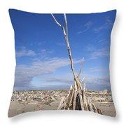 A Teepee Madeup Of Driftwood At Bandon Beach Throw Pillow