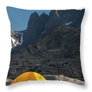 A Tent Is Dwarfed By The High Peaks Throw Pillow