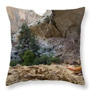A Tent Pitched In A Large Alcove Throw Pillow