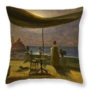 A Terrace In Amalfi In Moonlight Throw Pillow
