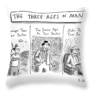 A Three Panel Images That Have Three Men: Throw Pillow