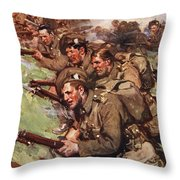 A Thrilling Charge, Illustration Throw Pillow