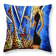 A Toast To The Little Black Dress By Madart Throw Pillow