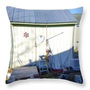 A Tool Shed In The Back Yard Throw Pillow