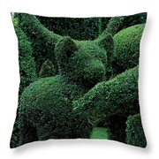 A Topiary Bear In Alice Braytons Green Animals Throw Pillow
