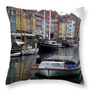 A Tour Boat At Nyhavn Throw Pillow