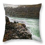 A Tourist Takes A Photo At Gullfoss Throw Pillow