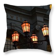 A Tower City Night Throw Pillow