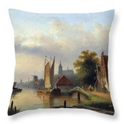 A Town By The River Throw Pillow