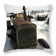 A Tractor In The Snow Throw Pillow