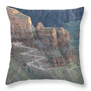 A Trail Winds Its Way Down A Steep Throw Pillow