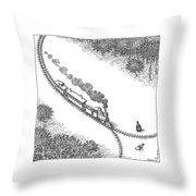 A Train Heads Toward A Tied Up Victim Traveling Throw Pillow