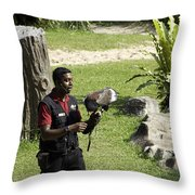 A Trainer And A Large Bird Of Prey At A Show Inside The Jurong Bird Park Throw Pillow