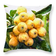 A Tree Full Of Ripe Loquats Throw Pillow