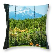 A Tree Swing Is Seen On A Summer Day Throw Pillow