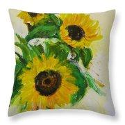 A Trio Of Sunflowers Throw Pillow