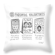 A Triptych Of Parental Valentines Day Cards That Throw Pillow
