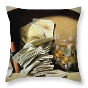 A Trompe Loeil Of Paper Money Coins Throw Pillow by French School