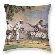 A Troupe Of Bayaderes, Or Indian Throw Pillow by Pierre Sonnerat